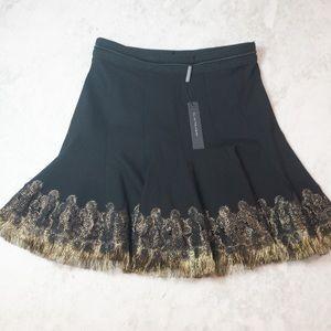 NWT Tahari Christina Metallic Fringe Flare Skirt